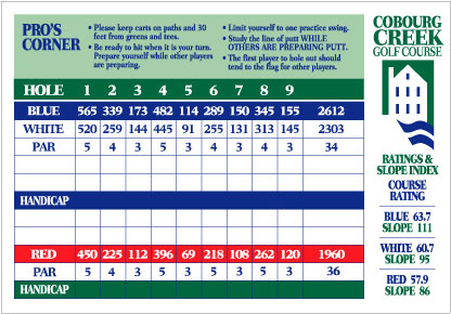 Cobourg Creek Golf Course Scorecard